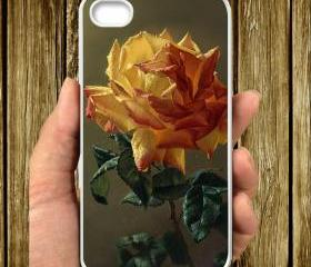 Roses Yellow Flower Paint IPHONE CASE 5, IPhone 4,4S Case hard plastic